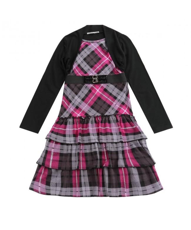 Bienzoe Girls Sleeve Plaid Playwear