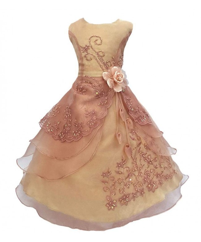 Joyshop Embroidered Princess Sleeveless Bridesmaid