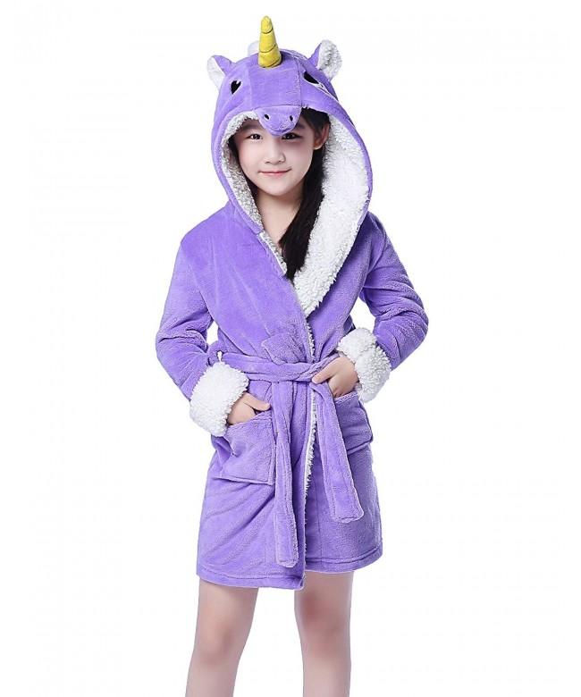 NEWCOSPLAY Plush Fleece Unicorn Bathrobe