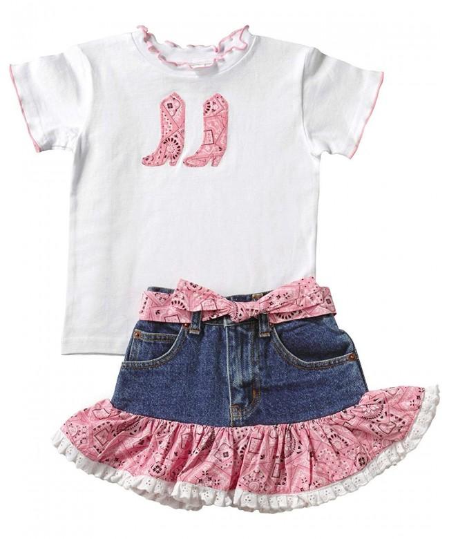 Girls Pink Bandana Skirt Set